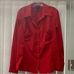 Lane Bryant Red Blouse 14/16 EUC, Comfort Stretch